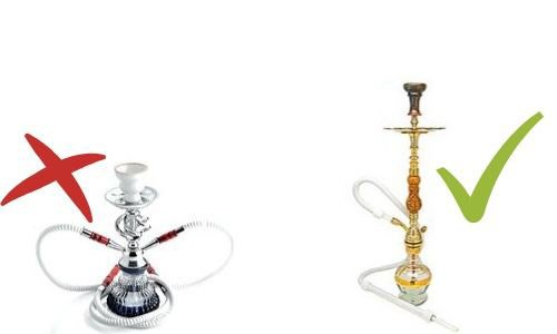 large and small hookah made of different materials