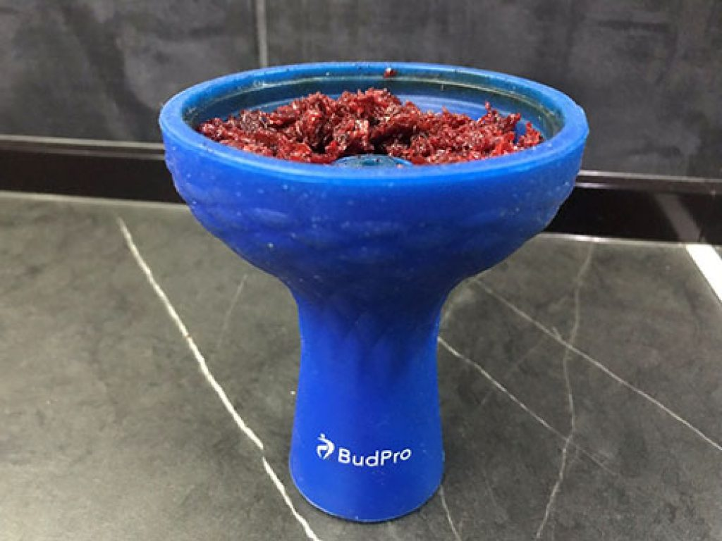 Shows BudPro blue color silicone bowl packed with shisha