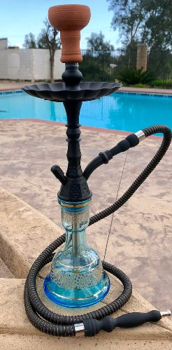 black and blue Pharaoh's Nysa hookah near the pool
