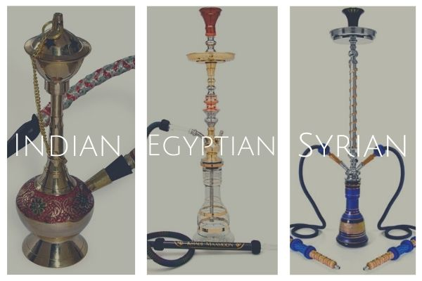 Indian Egyptian and Syrian type of traditional hookah