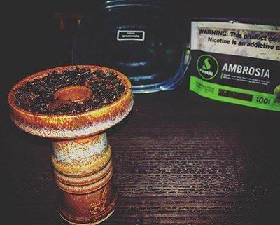 Fumari Ambrosia flavor and loaded Alpaca hookah head