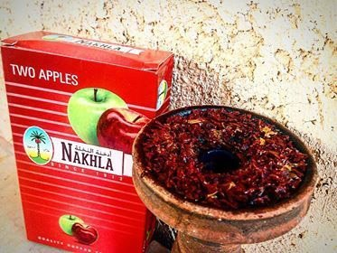 Nakhla Double Apple hookah tobacco and loaded unglazed bowl
