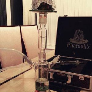 Pharaohs Queen B hookah in use and its carrying case