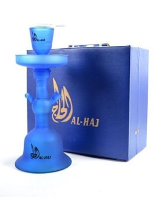 blue Al Haj glass hookah and hookah carrying case