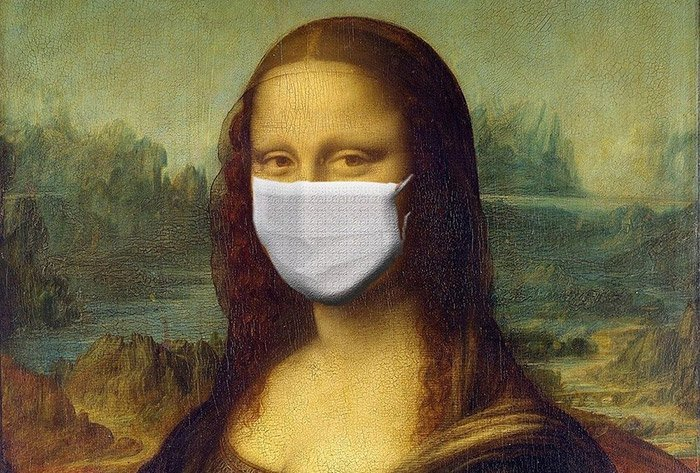 Mona Lisa with COVID 19 protection mask